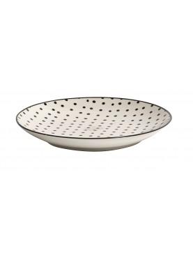 Designový keramický talíř malý černé puntíky I