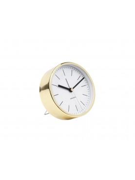 Designový budík Minimal bílo - zlatý