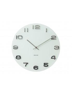 KARLSSON Nástěnné hodiny skleněné bílé