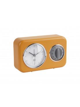 Nástěnné hodiny s minutkou žluté