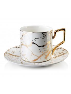 Porcelánový šálek s podšálkem se vzorem mramoru zlatý