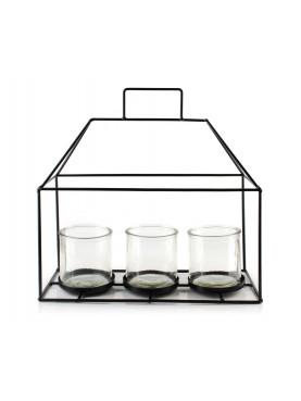 Kovový domeček na čajové svíčky černý L