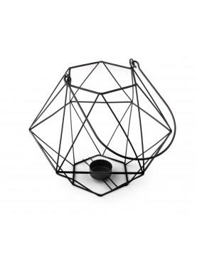 Geometrická kovová lucerna černá