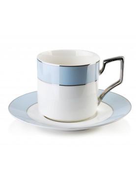 Porcelánový šálek s podšálkem bílo-modrý