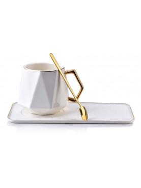 Set šálku s talířkem a lžičkou bílo-zlatý